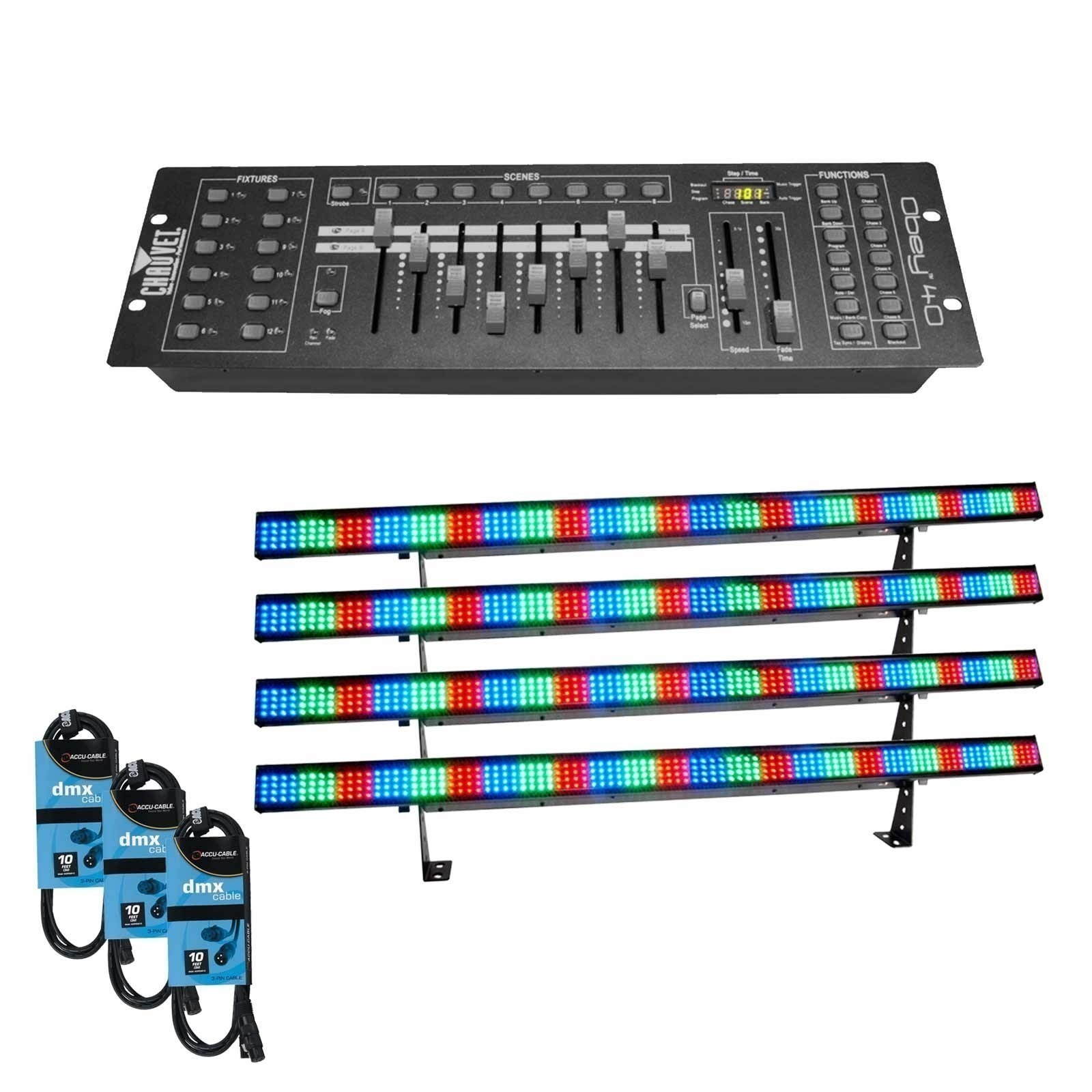 Chauvet dj colorstrip obey 10 4 pack for Lighting packages for new homes