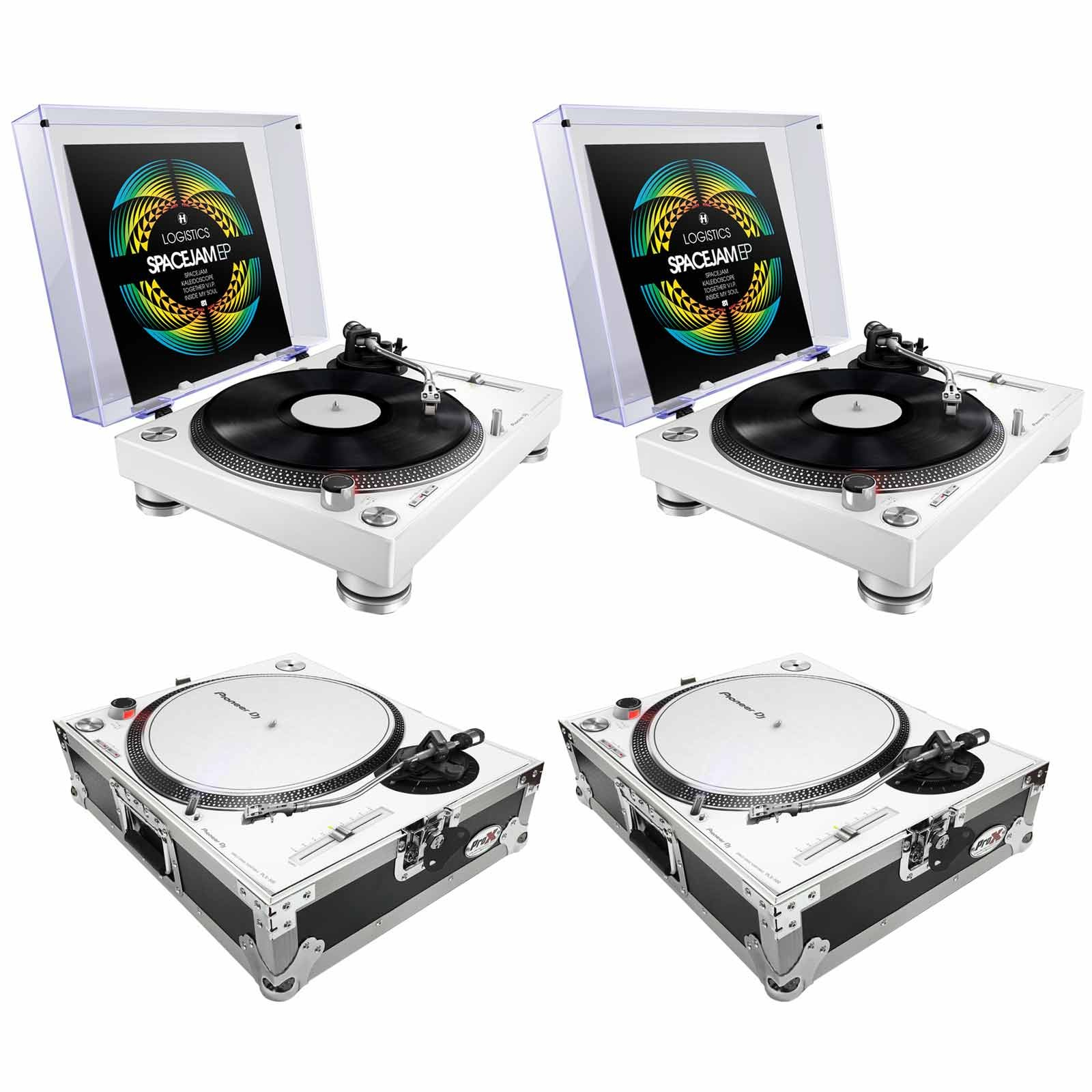 pioneer dj plx 500 turntables white with prox turntable cases duo package. Black Bedroom Furniture Sets. Home Design Ideas