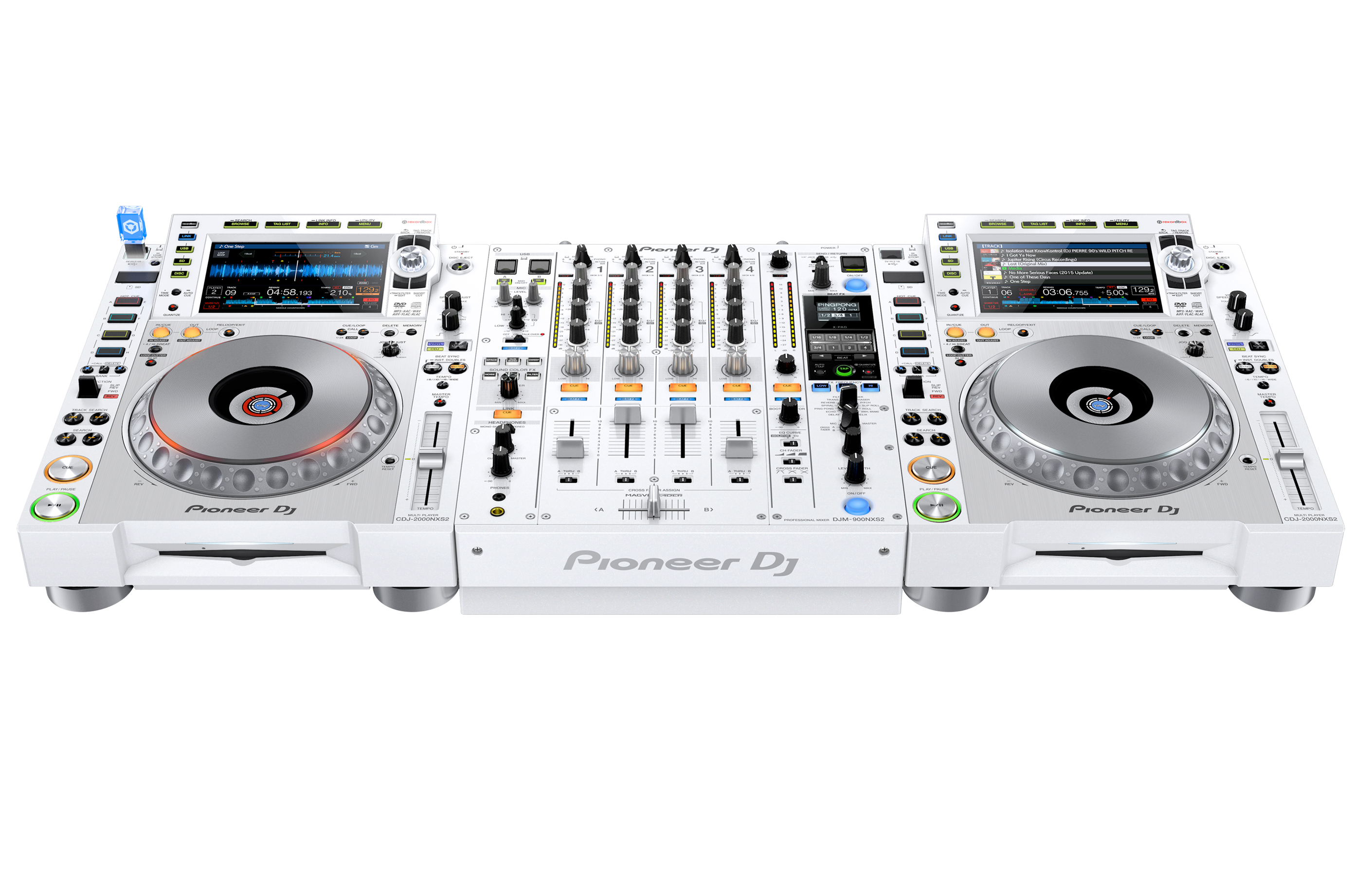 pioneer dj cdj 2000nxs2 w and djm 900nxs2 w system limited edition white set up with distinctive. Black Bedroom Furniture Sets. Home Design Ideas