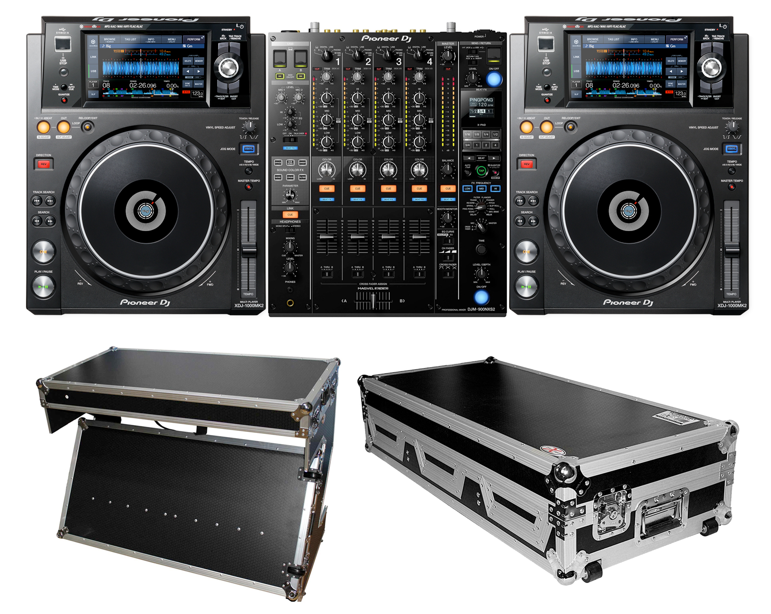 pioneer dj djm 900nxs2 with 2 xdj 1000mk2 and xs ztable bl and coffin package. Black Bedroom Furniture Sets. Home Design Ideas