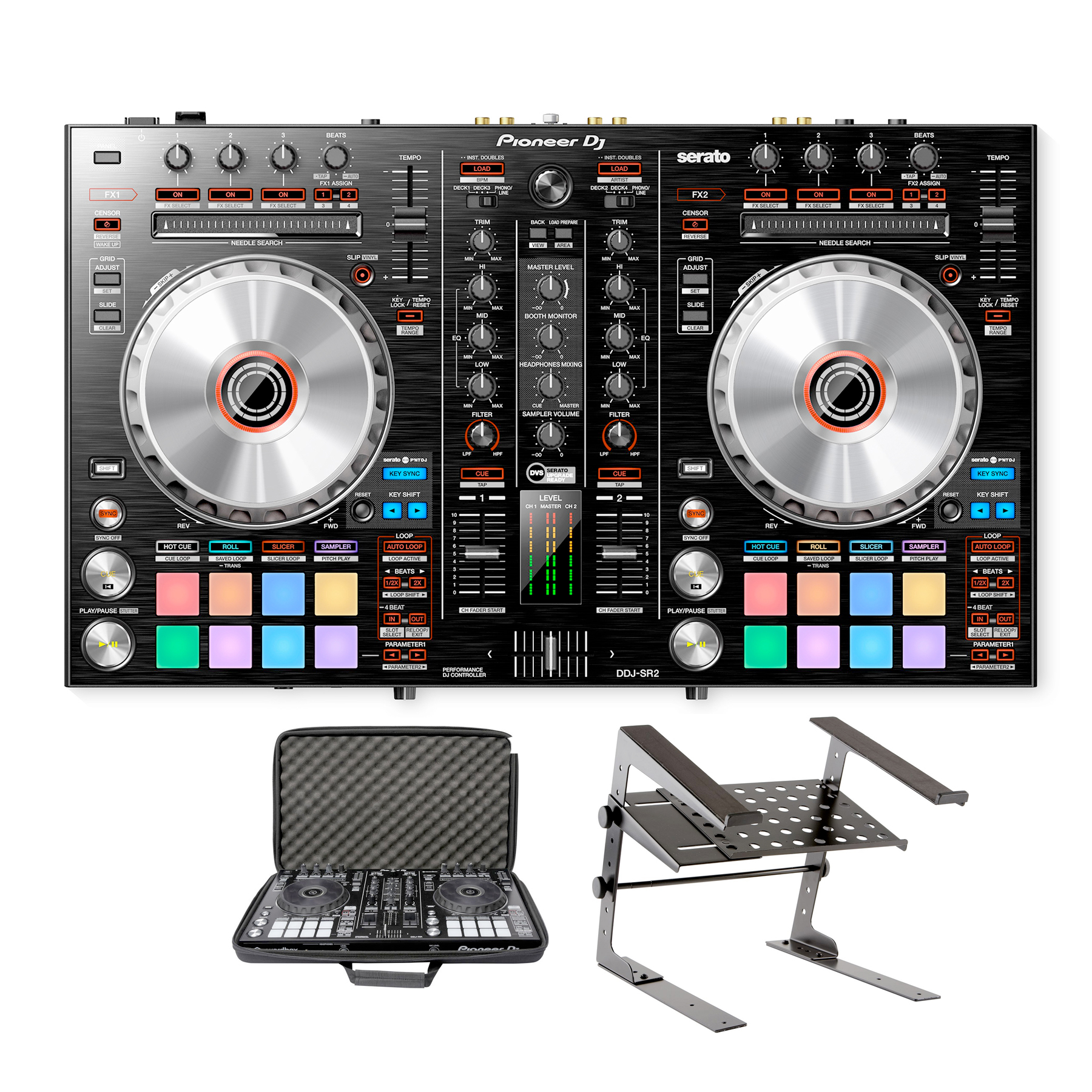Pioneer Dj Ddj Sr2 With Laptop Stand And Bag Package Deal