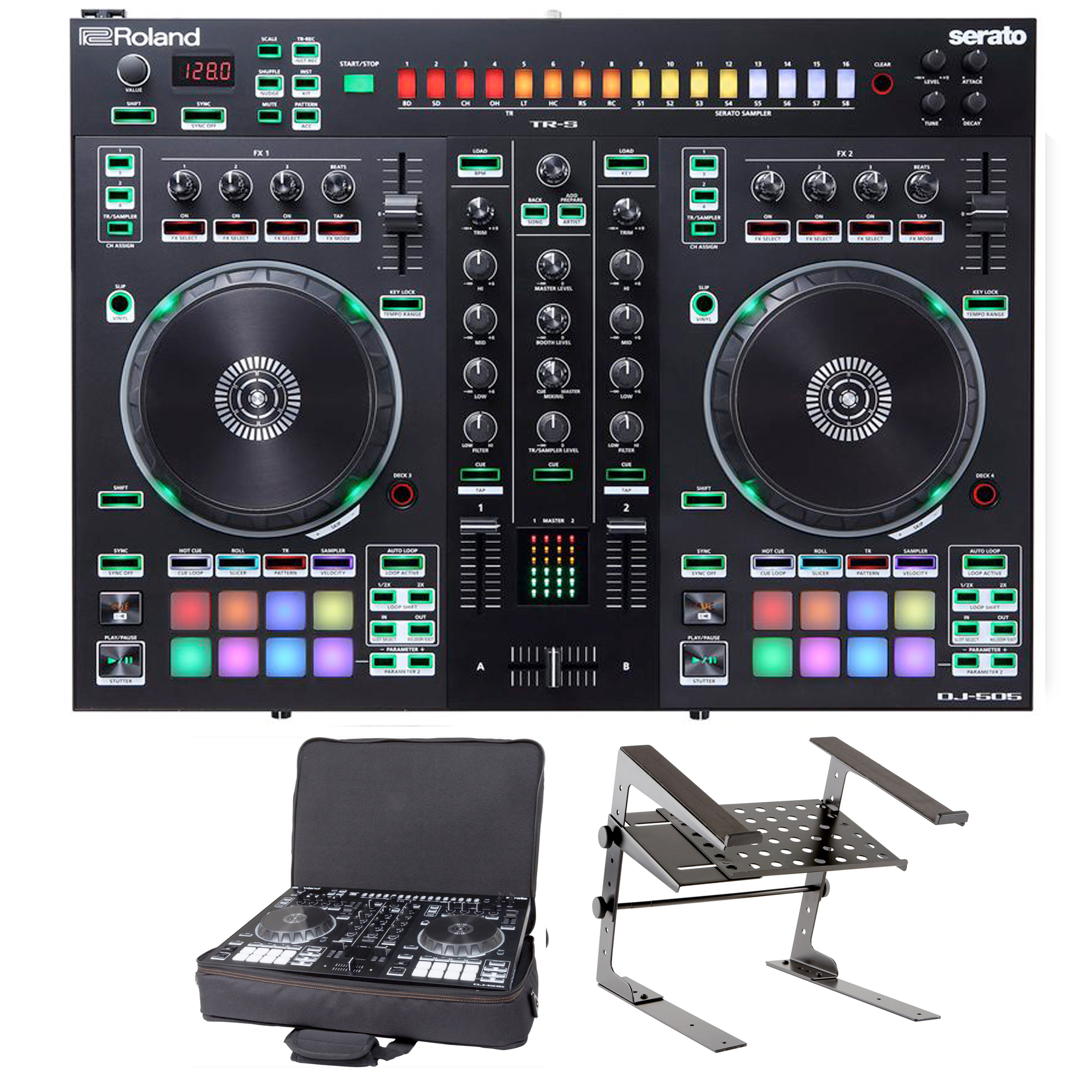 roland dj 505 with laptop stand and bag package deal dj equipment chicago lowest price. Black Bedroom Furniture Sets. Home Design Ideas
