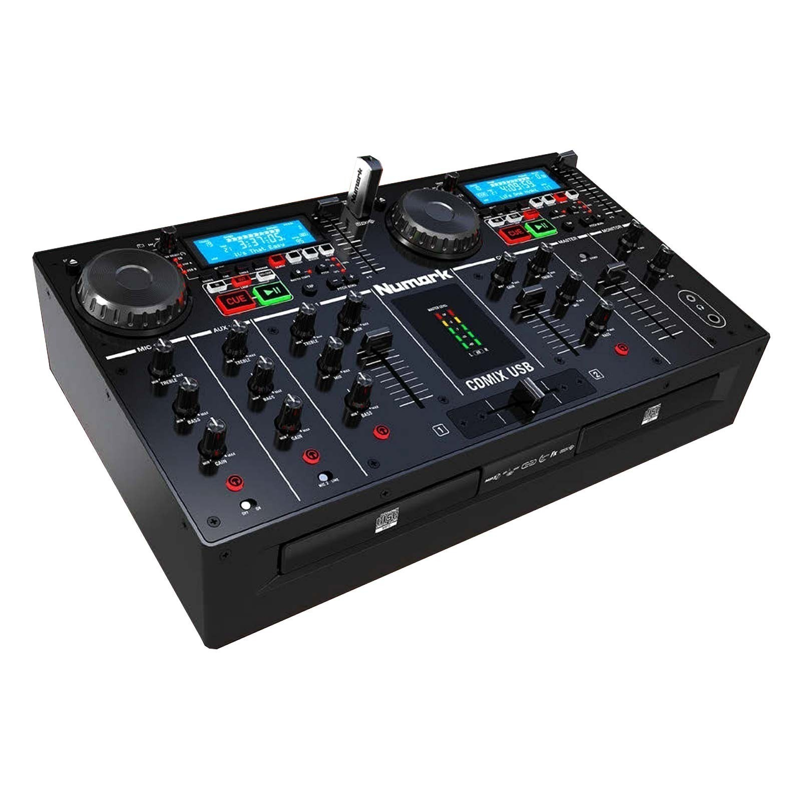 numark cdmix usb 2 deck all in one cd usb dj system with 3 band eqs cheap dual cd player. Black Bedroom Furniture Sets. Home Design Ideas