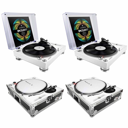 Pioneer DJ PLX-500 Turntables (white) with ProX Turntable Cases Duo Package