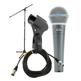 Shure Beta 58A Handheld Microphone with Stand and Cable