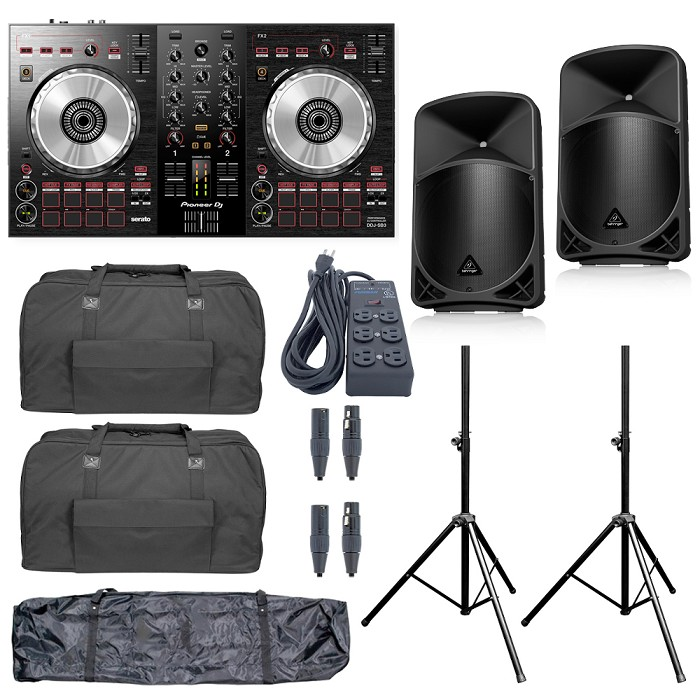 Pioneer DJ DDJ-SB3 and Behringer B12x Package